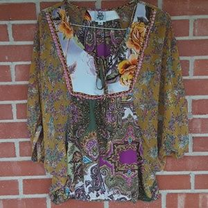 Ivy Jane boho batwing top size small Mediterranean